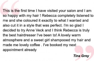 happy client testimonial for anne veck bicester and oxford hair salons